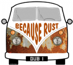 Because Rust Slogan For Retro SPLIT SCREEN VW Camper Van Bus Design External Vinyl Car Sticker 90x80mm